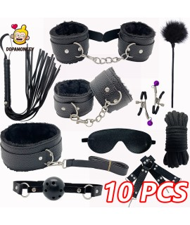 10PCS  Adults Game for Couple BDSM Leather Bondage Equipment Kits Handcuffs Sex Toy Whip Gag SM Products Bondage Set for Women|Adult Games|   - 1SexFun
